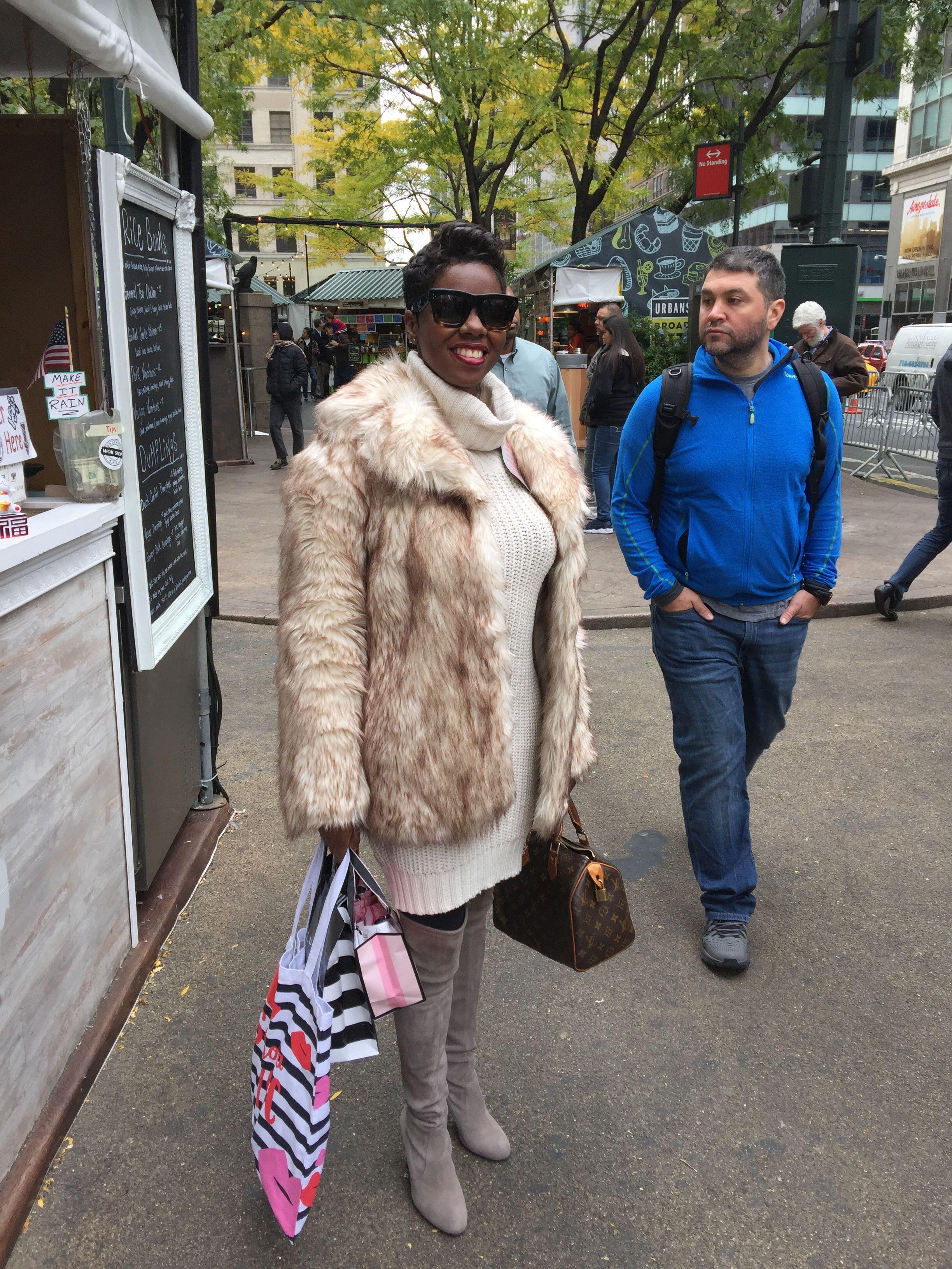 Fall Faux Fur Coat Sweater Dress OTK Boots