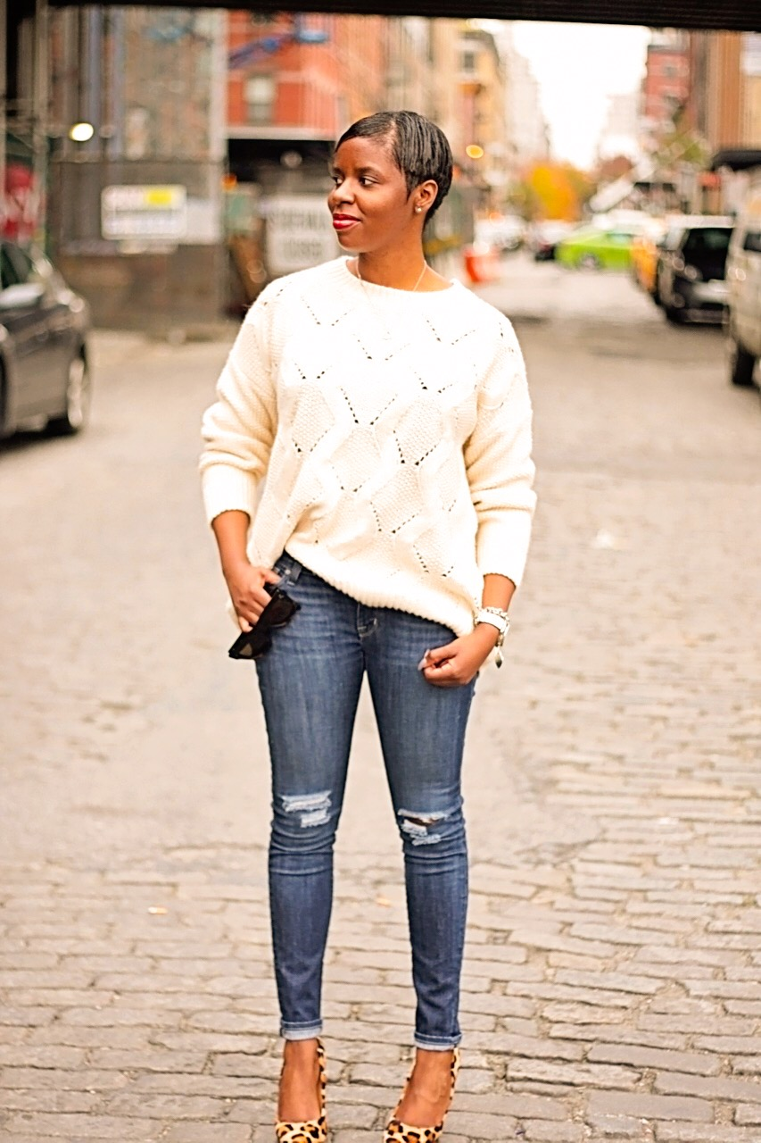 Cream Sweater Ripped Jeans Leopard Pumps Street Style
