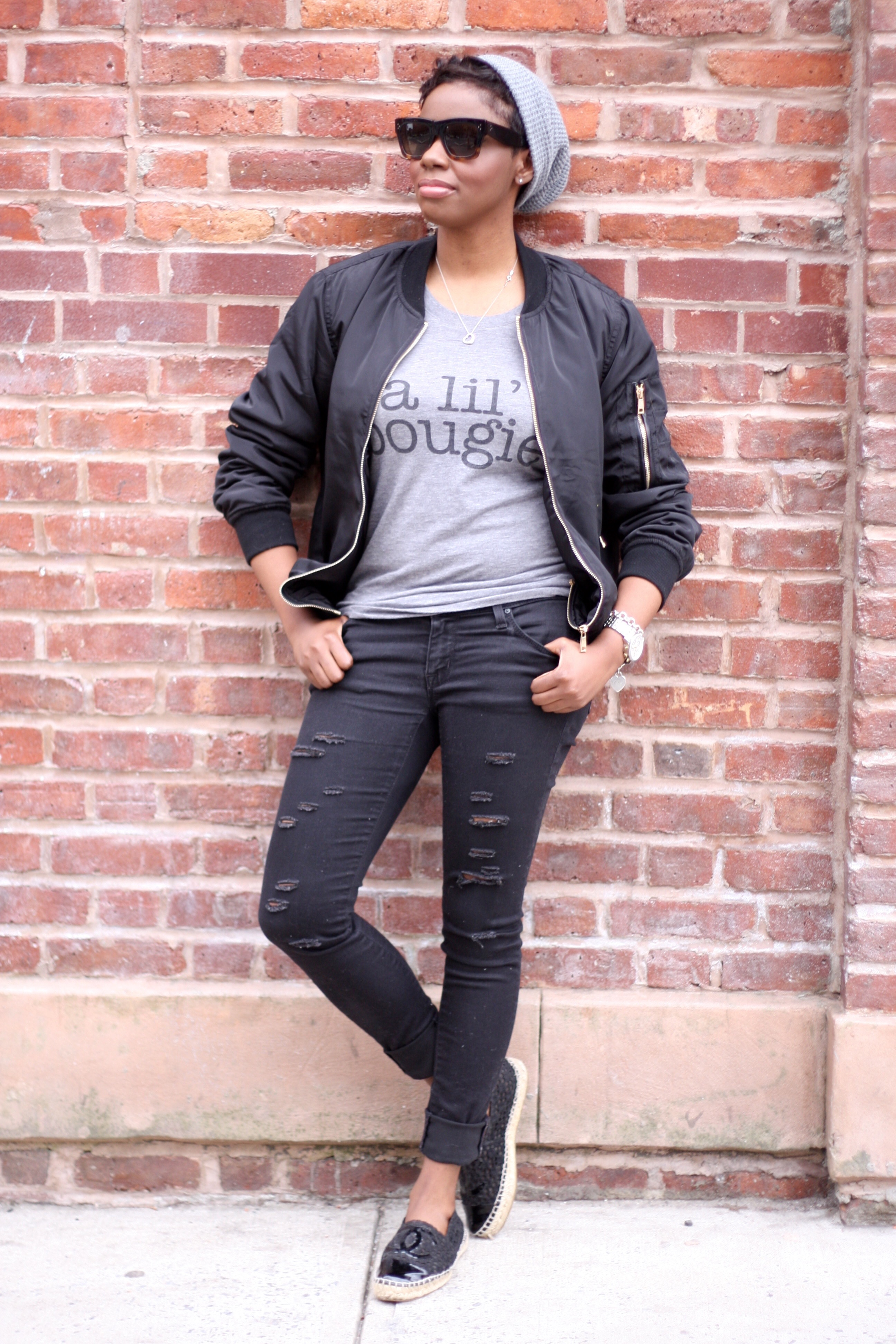 Off Duty Casual Style Bomber Jacket Graphic Tee Ripped Jeans Espadrilles Fashion Blogger