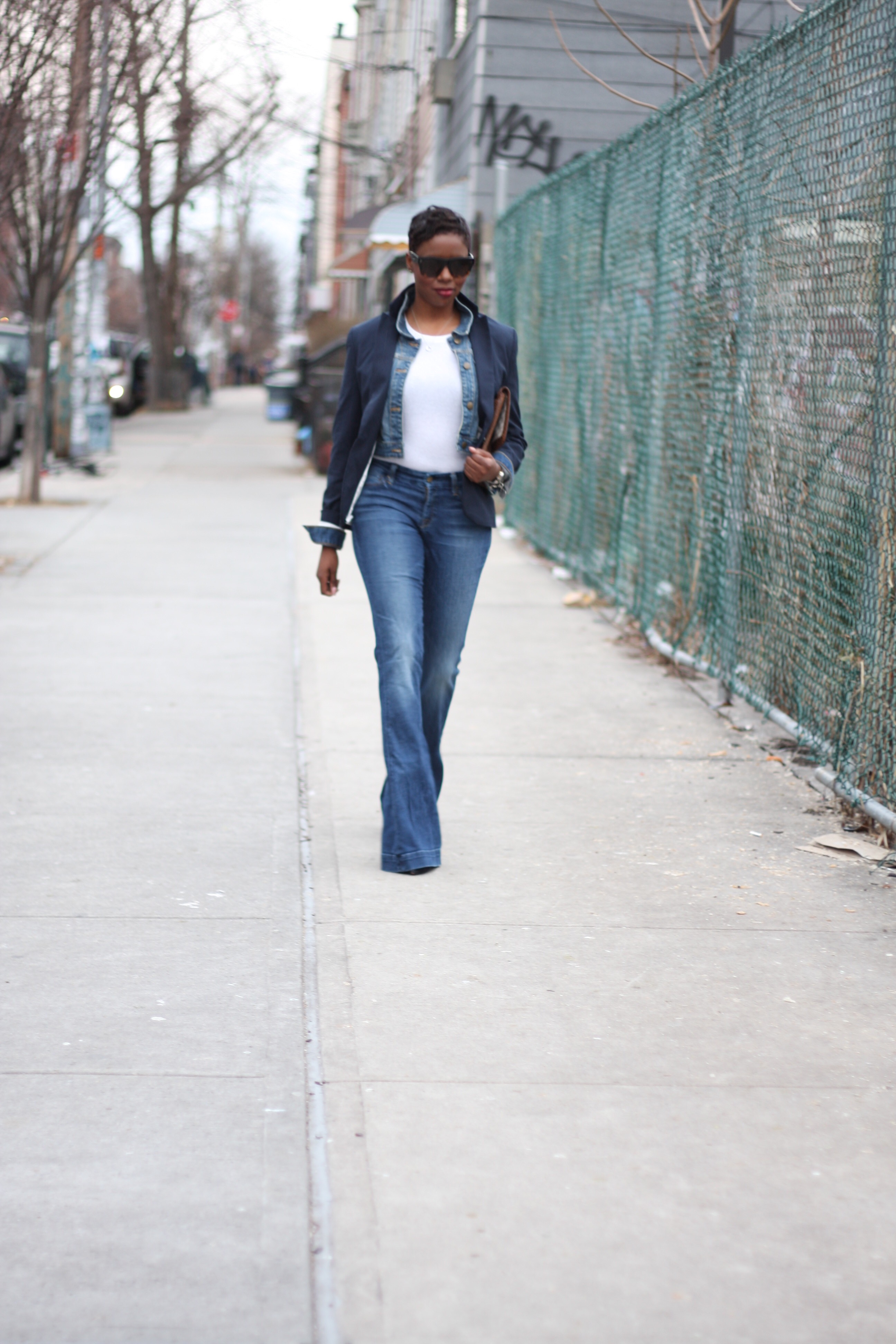 Navy Blazer Denim Jacket Layer Flare Jeans Outfit NYC Style Blogger