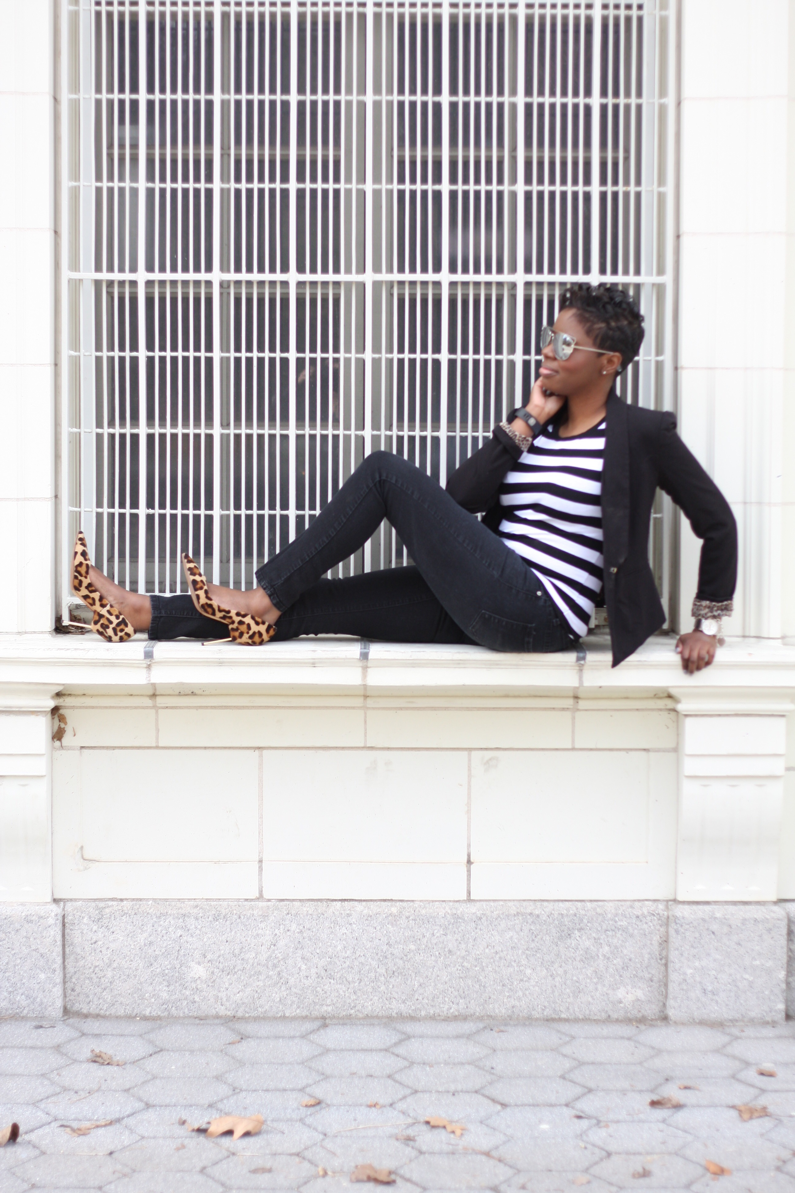 Casual Friday Black Blazer Striped Tee Black Skinny Jeans Leopard Pumps NYC Style Blogger