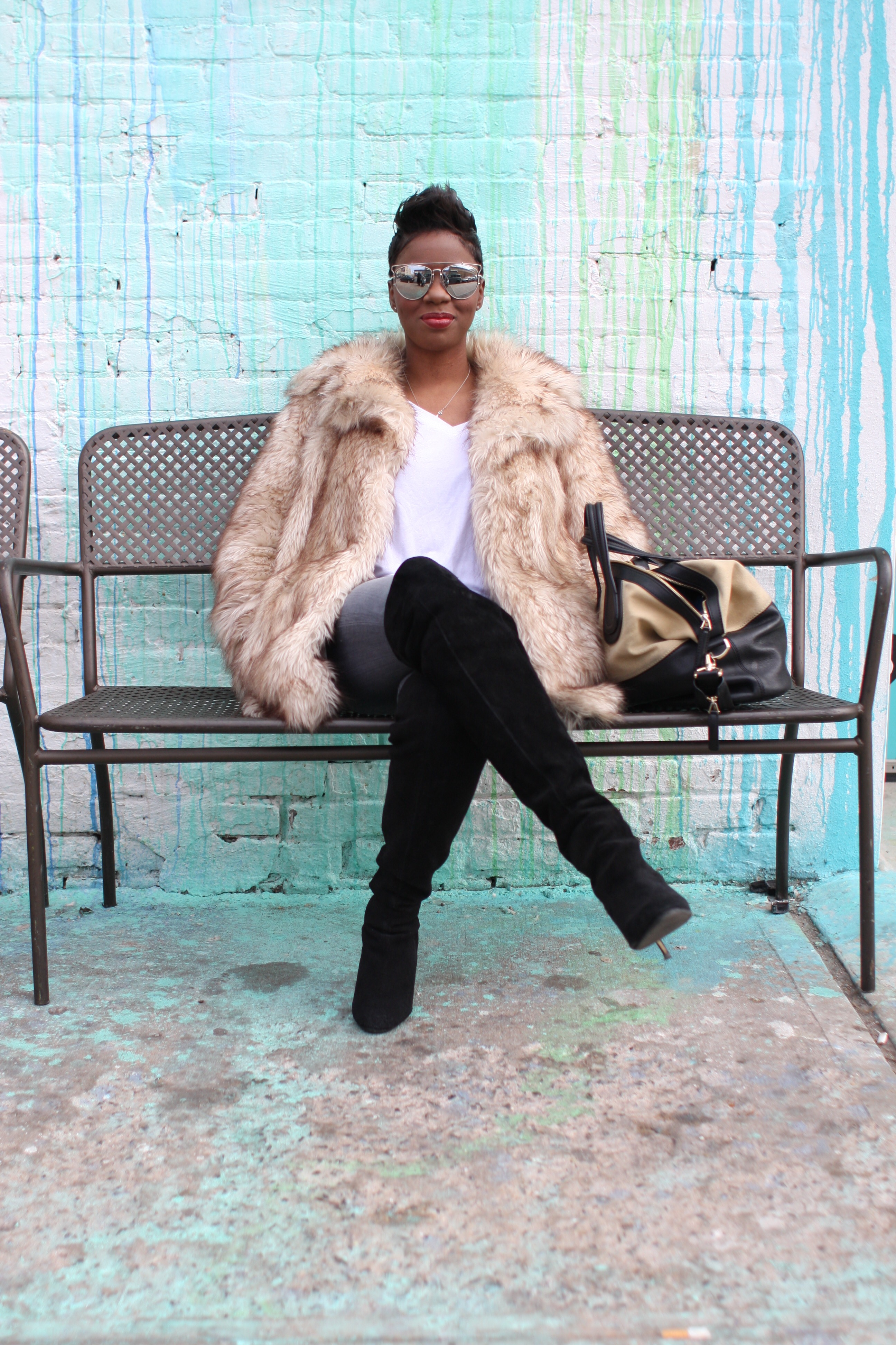 Faux Fur Coat White Top Mirrored Sunglasses Winter 2016 Finale NYC Style Blogger