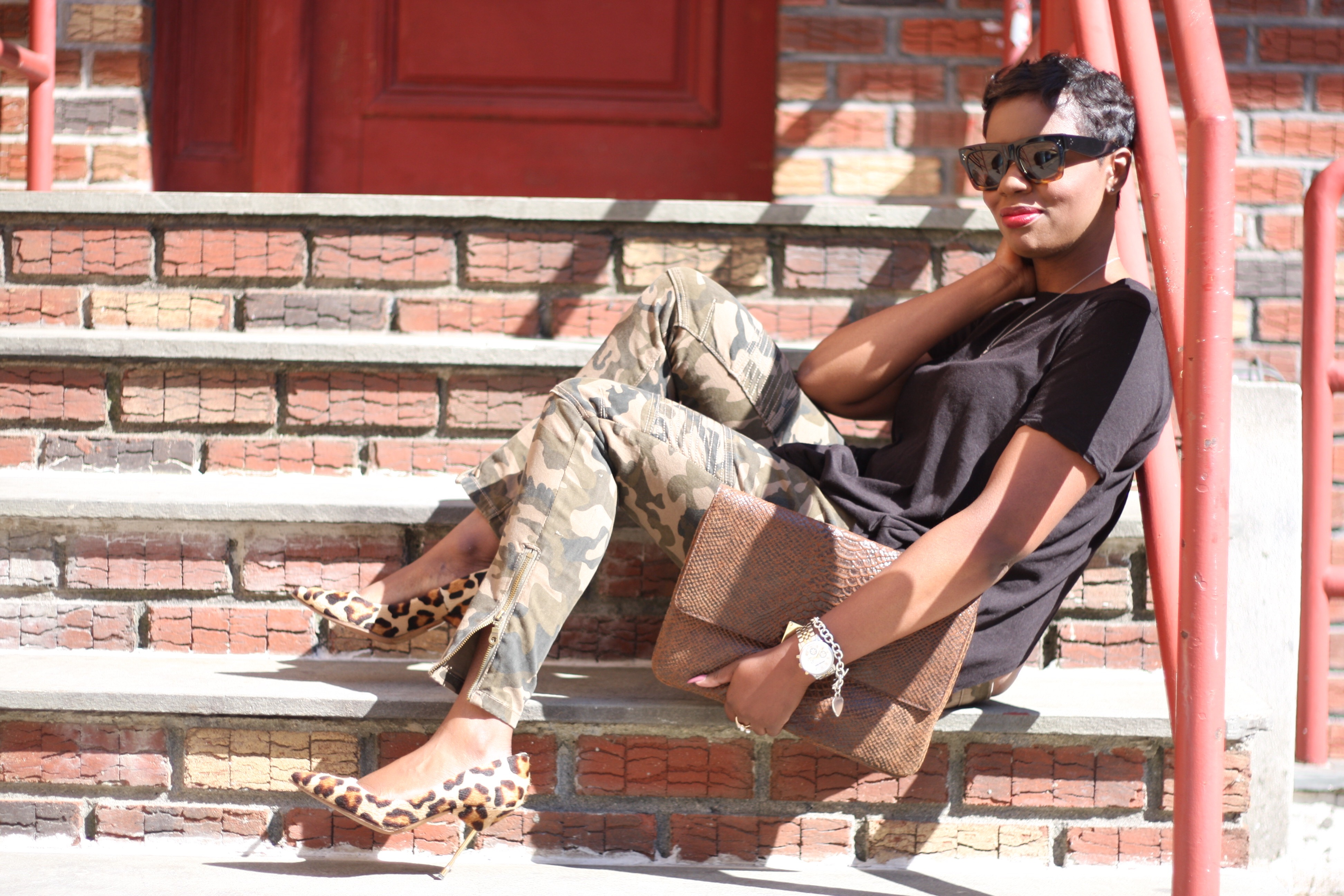 Black Open Back Top Camo Pants Leopard Pumps Oversized Clutch NYC Style Blogger Spring 2016