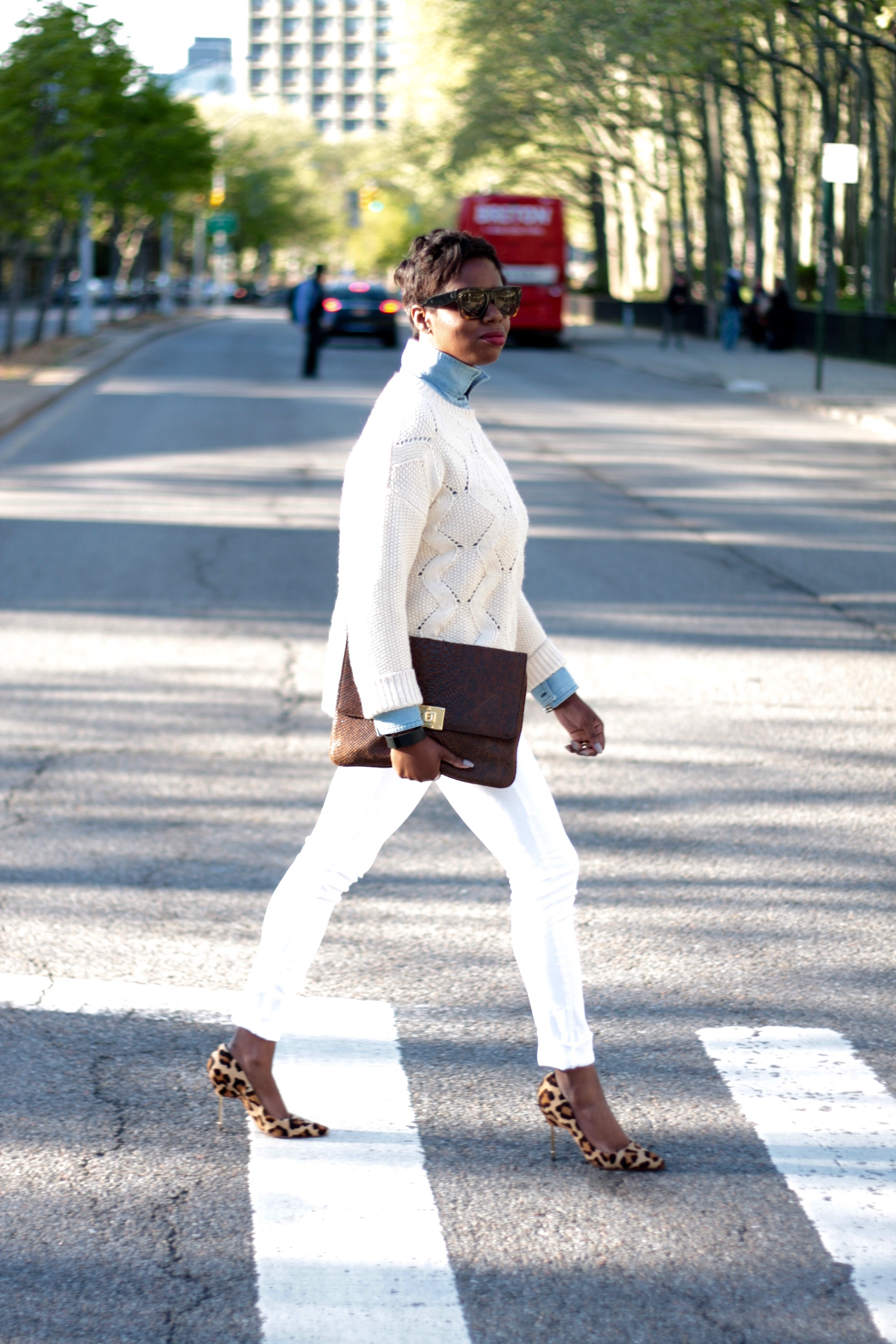 Chambray Shirt Cream Sweater White Jeans Leopard Pumps Spring 2016 NYC Style Blogger