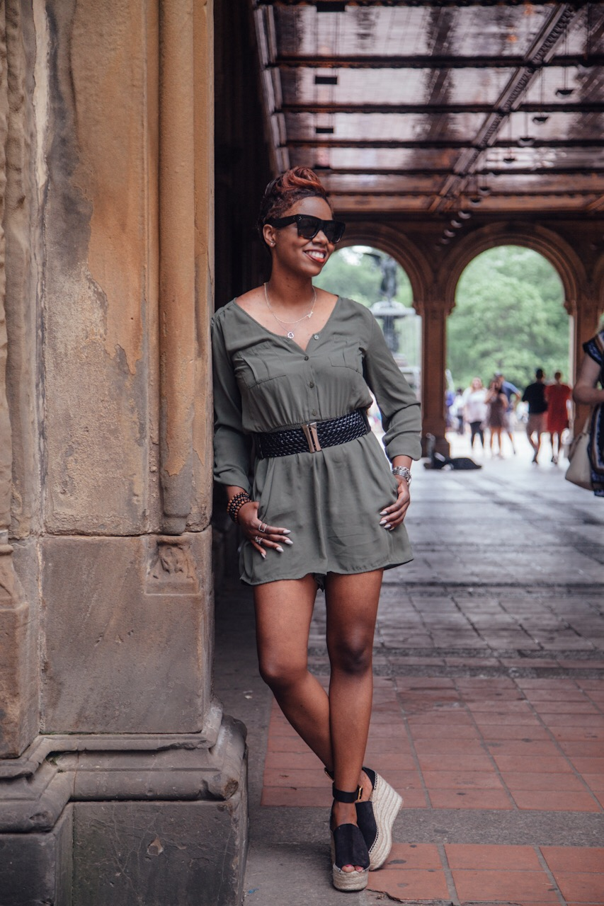 Olive Romper Black Belt Chloe Wedges NYC Style Blogger