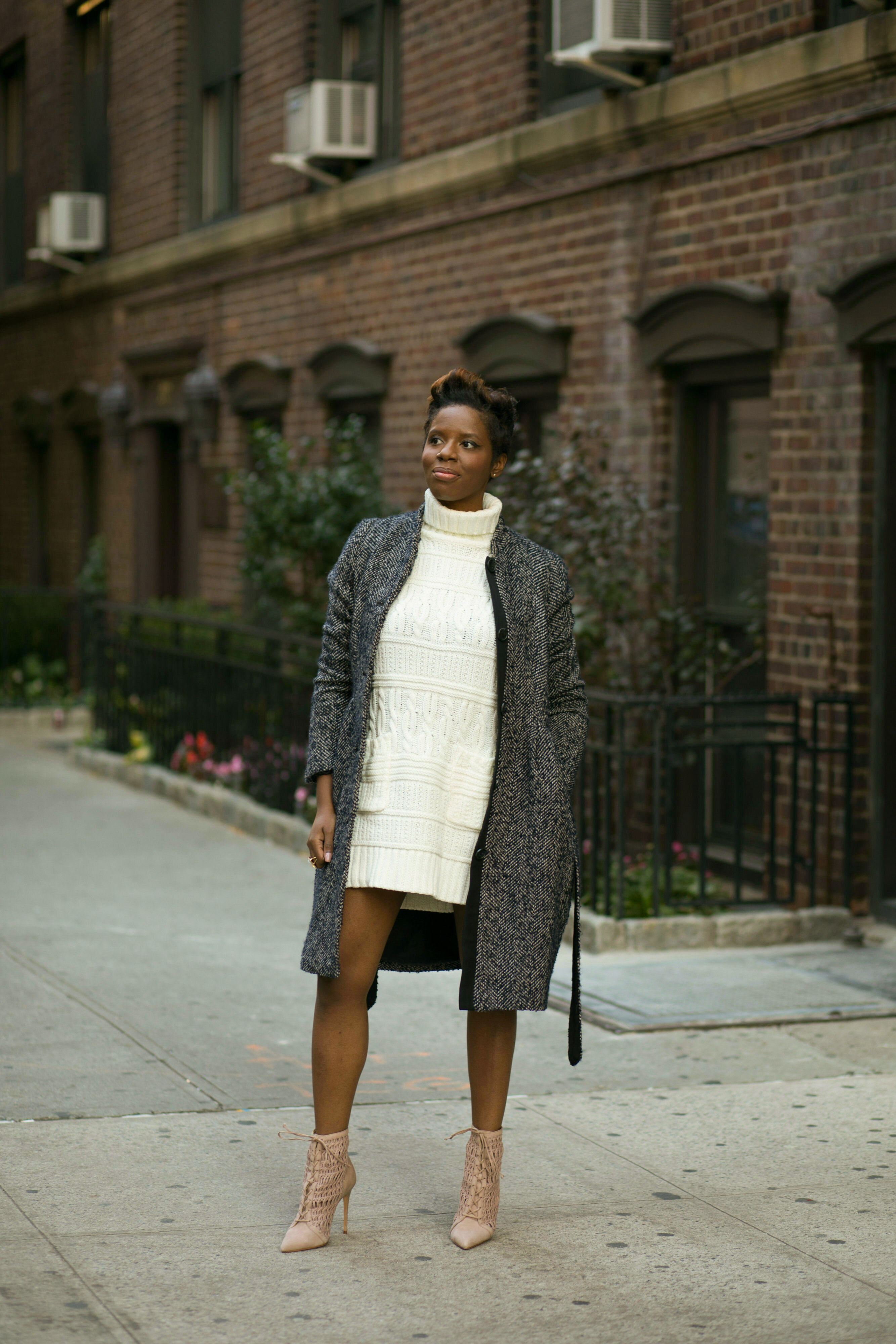 Herringbone Coat Sweater Dress Ankle Boots Nyc Fashion Blogger