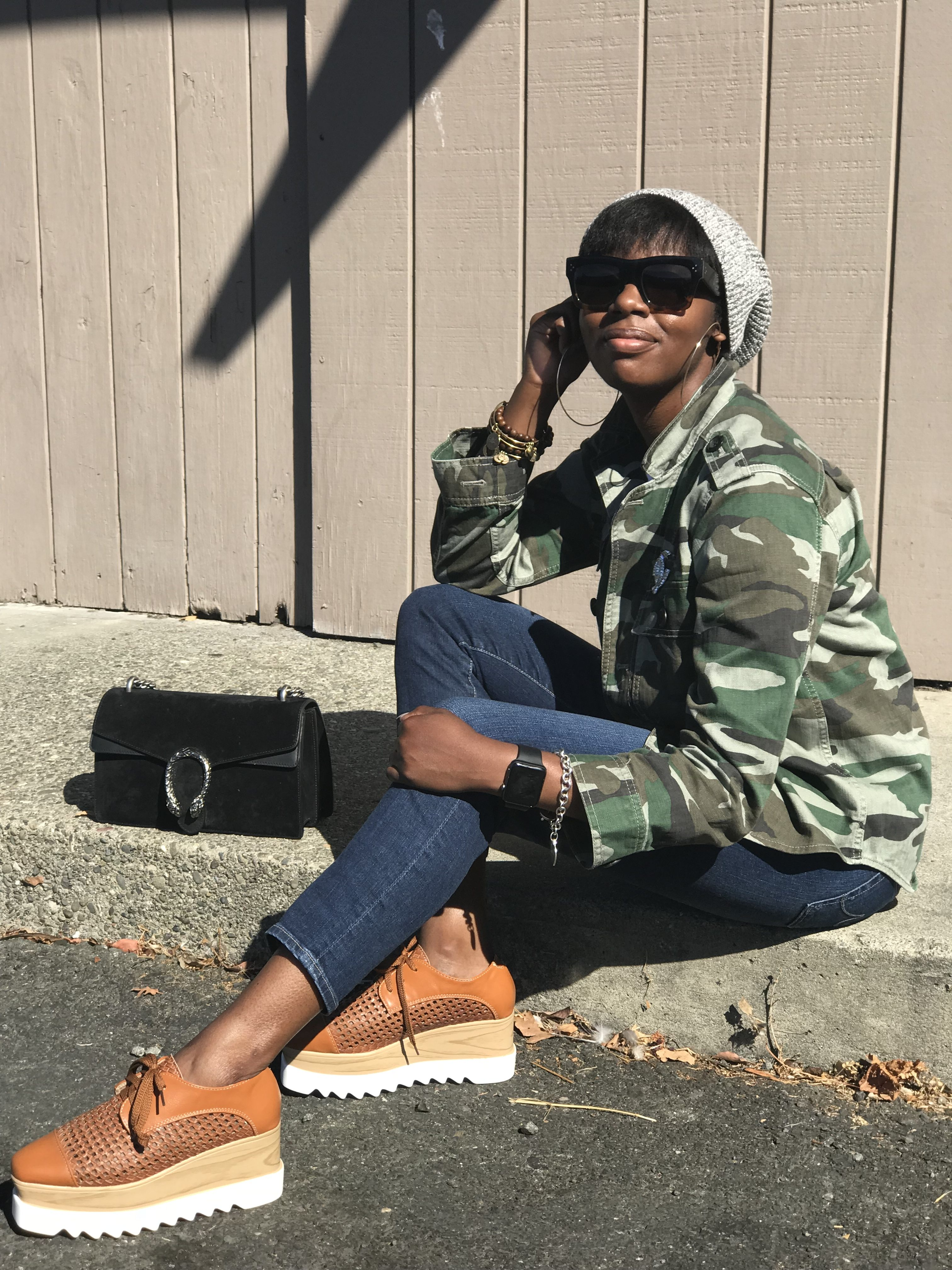 Jcrew Cotton Beanie Celine Sunglasses Liars & Lovers ASOS Extra Large Gold Hoop Earrings Jcrew Camouflage Camo Utility Shirt Jacket AG The Stilt Cropped Jeans Stella McCartney Elyse Woven Platform Sneakers Gucci Dionysus Black Suede Shoulder Bag Chanel Brooch San Francisco SF Bay Area California Fashion Style Blog Blogger