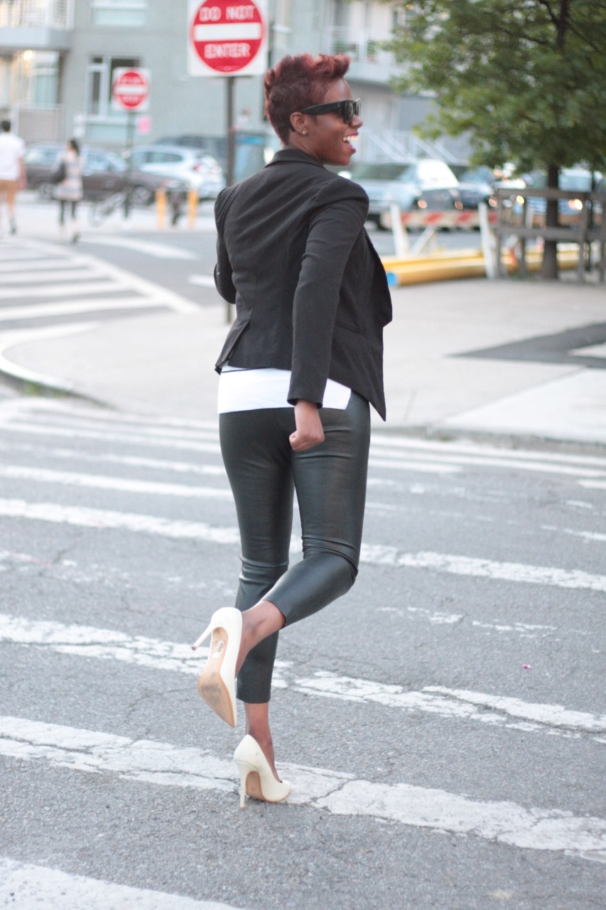 The White Rose Leather Pants Black Blazer Striped Tshirt White Pumps NYC Style Blogger