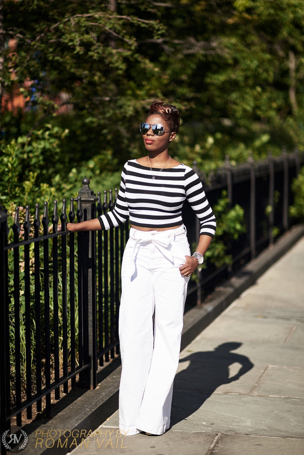 Breton Stripes Crop Top White Flare Jeans Chloe Wedges NYC Fashion Blogger