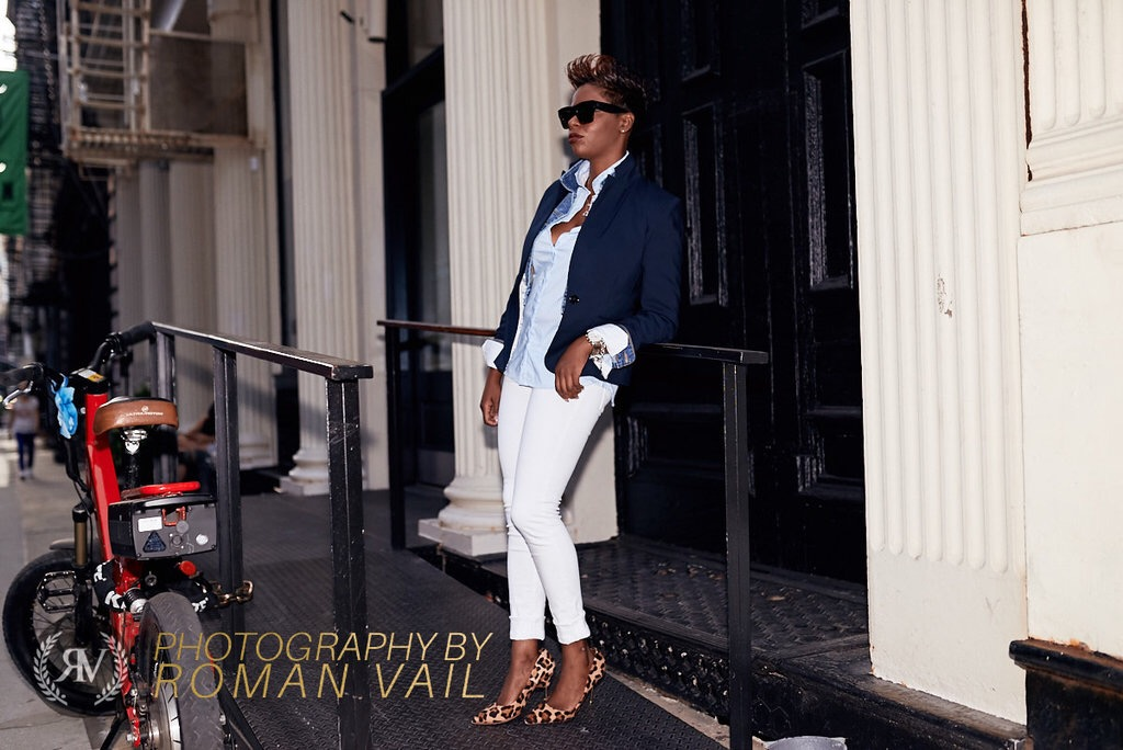 Navy Blazer Denim Jacket Striped Shirt White Jeans Leopard Pumps Summer 2016 NYC Style Blogger
