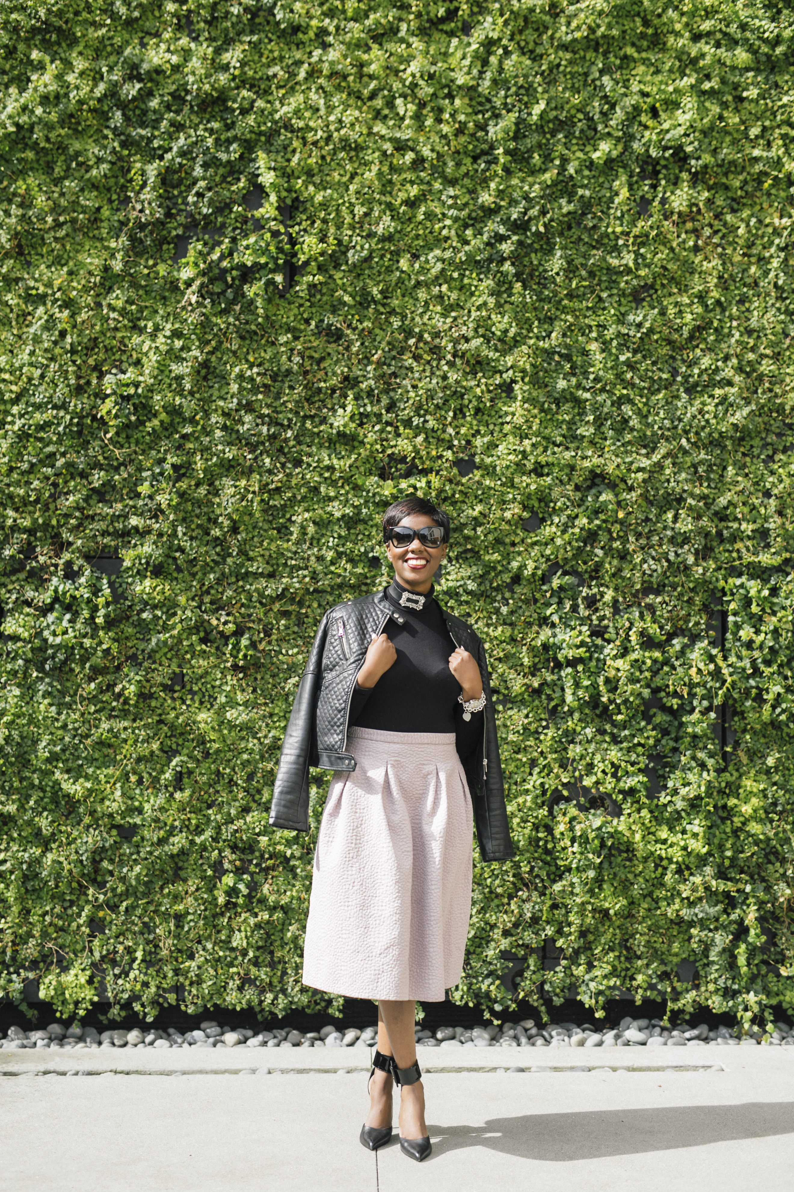 Life Unplugged Tom Ford Sunglasses Shop Tempest Choker ASOS Black Turtleneck Bodysuit H&M Mauve Full Midi Skirt Black Faux Leather Jacket Saint Laurent Ankle Cuff Pumps San Francisco Sf Fashion Style Blog Blogger