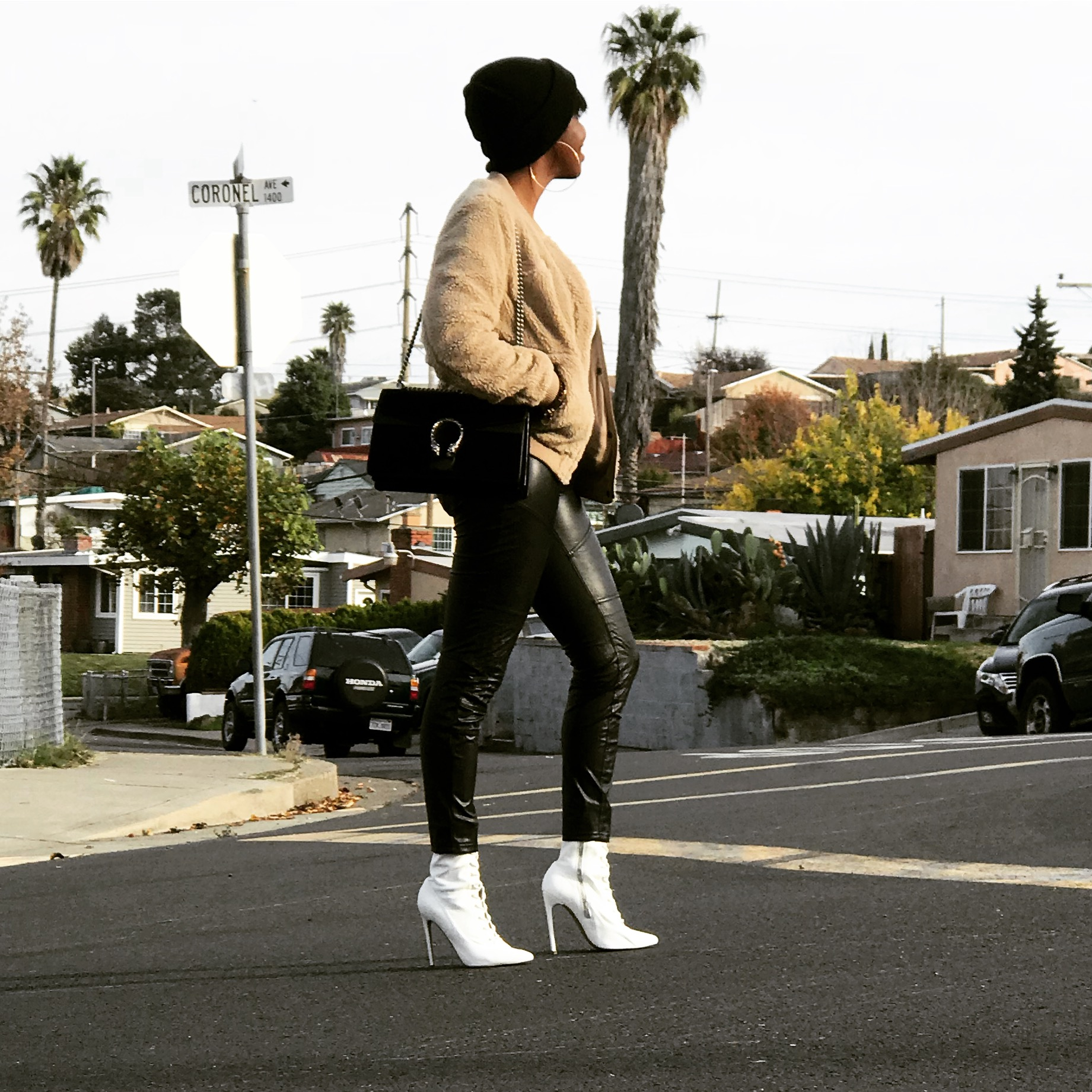 Levis Teddy Bomber Jacket Gucci Black Suede Dionysus Bag Hue Faux Leather Leggings Steve Madden White Lace-up Ankle Boots Acne Studios Beanie ASOS Hoop Earrings Level Of Greatness San Francisco Bay Area Fashion Style Blog Blogger